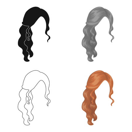 spit: Red wavy.Back hairstyle single icon in cartoon style vector symbol stock illustration web.