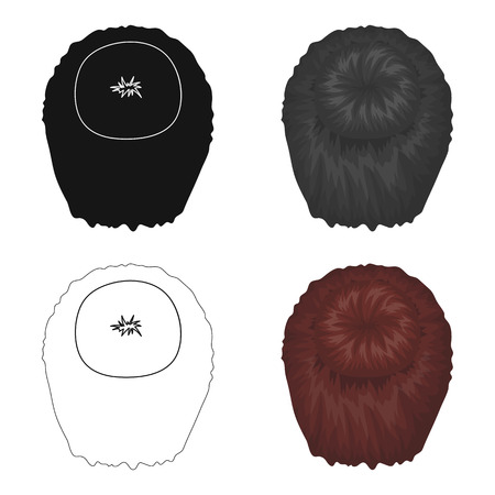 Dark short.Back hairstyle single icon in cartoon style vector symbol stock illustration web. Illustration