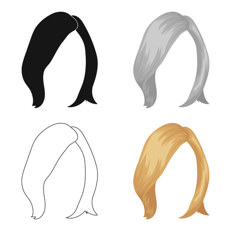 loose hair: shortWhite .Back hairstyle single icon in cartoon style vector symbol stock illustration web.