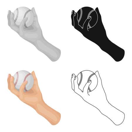 fastball: Hand with ball. Baseball single icon in cartoon style vector symbol stock illustration web.