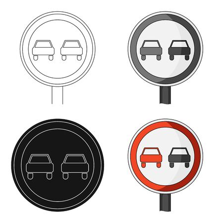 Il sorpasso del segnale stradale è proibito. Singola icona della vettura nel web dell'illustrazione delle azione di simbolo di vettore di stile del fumetto. Archivio Fotografico - 80638884
