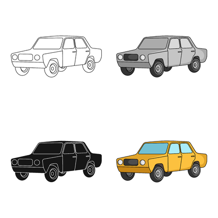 Old car.Car single icon in cartoon style vector symbol stock illustration web.