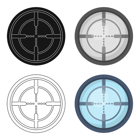 round logo: Optical sight.Paintball single icon in cartoon style vector symbol stock illustration web.