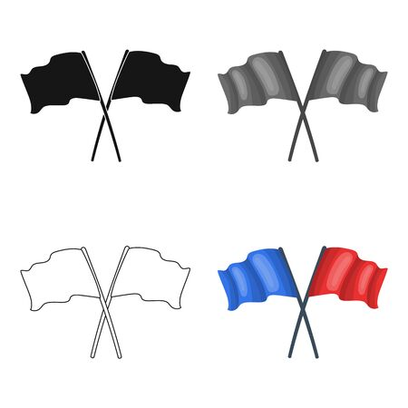 finishing: Red and blue flags.Paintball single icon in cartoon style vector symbol stock illustration . Illustration