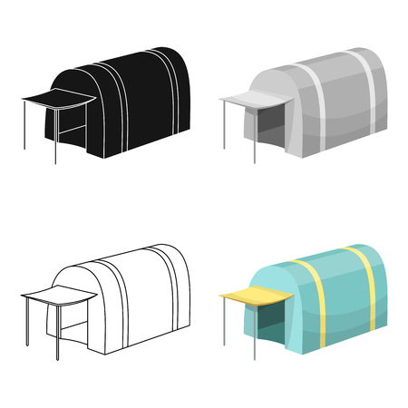 Tent with awning.Tent single icon in cartoon style vector symbol stock illustration web.