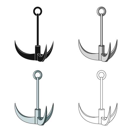 grappling: Climbing hook. Mountaineering single icon in cartoon style vector symbol stock illustration web. Illustration
