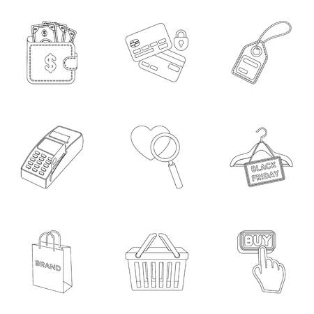 finding: E-commerce set icons in outline style. Big collection of e-commerce vector symbol stock illustration