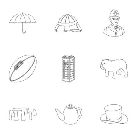 top gun: England country set icons in outline style. Big collection of England country vector symbol stock illustration