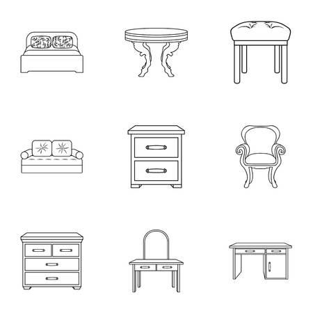 Meubels en home interieur set pictogrammen in kaderstijl. Grote inzameling van meubilair en de voorraadillustratie van het huis binnenlandse vectorsymbool