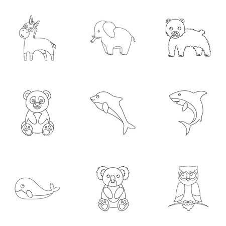 動物は、アウトラインのスタイルのアイコンを設定します。動物の大きなコレクション ベクトル シンボル ストック イラスト