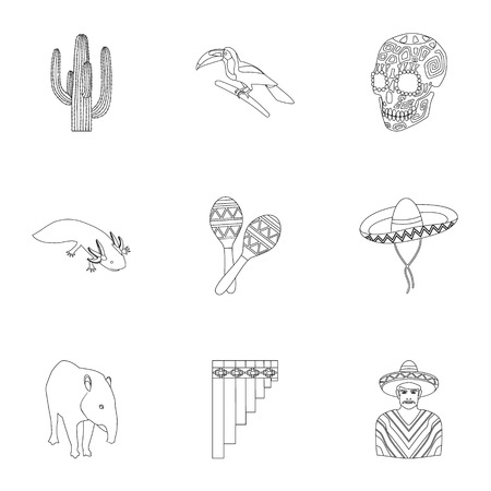 Mexico country set icons in outline style. Big collection of Mexico country vector symbol stock illustration