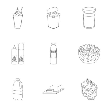 Milk product and sweet set icons in outline style. Big collection of milk product and sweet vector symbol stock illustration