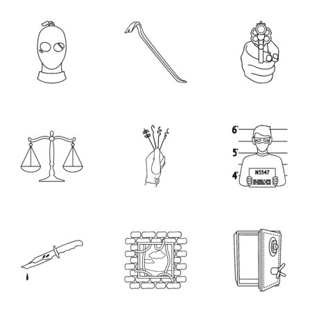 Crime set icons in outline style. Big collection of crime vector symbol stock illustration