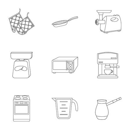 주방 개요 스타일에서 아이콘을 설정합니다. 부엌 벡터 기호 재고 일러스트의 큰 컬렉션
