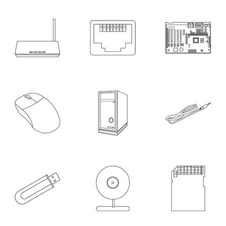 Personal computer set icons in outline style. Big collection of personal computer vector symbol stock illustration