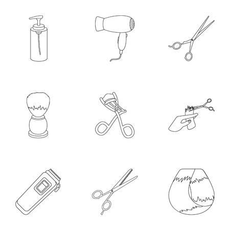 Kapper vastgestelde pictogrammen in overzichtsstijl. Grote inzameling van de voorraadillustratie van het kapper vectorsymbool