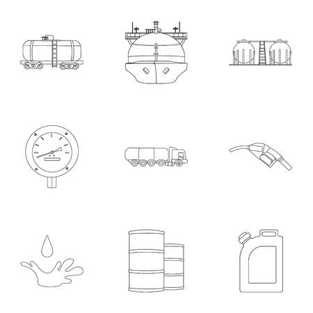 Oil industry set icons in outline style. Big collection of oil industry vector symbol stock illustration Illustration