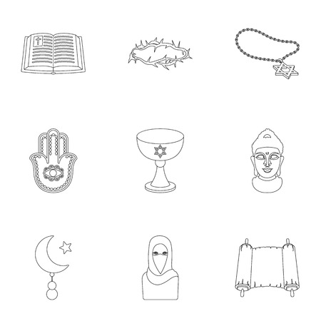 commandments: Religion set icons in outline style. Big collection of religion vector symbol stock illustration