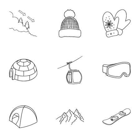 Ski resort set icons in outline style. Big collection of ski resort vector symbol stock illustration Illustration