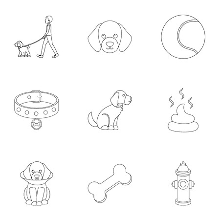 Dog equipment set icons in outline style. Big collection dog equipment vector symbol stock illustration Banco de Imagens - 80683024