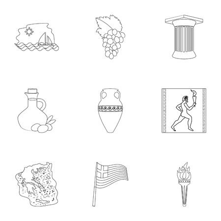 Greece set icons in outline style. Big collection of Greece vector symbol stock illustration
