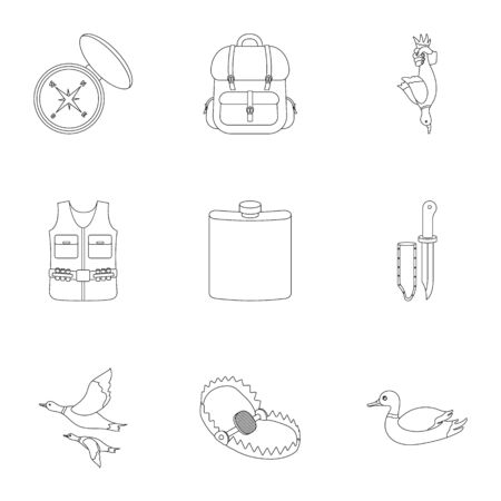 Hunting set icons in outline style. Big collection of hunting vector symbol stock illustration