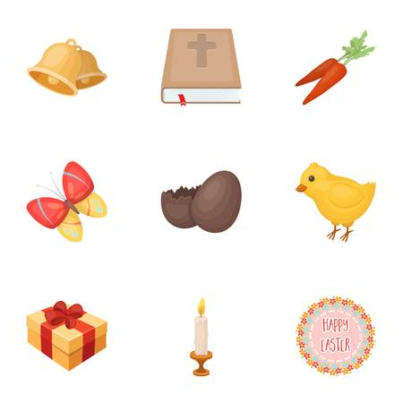 Easter cake, chicken, butterfly and greeting sign.Easter set collection icons in cartoon style vector symbol stock illustration web. Illustration
