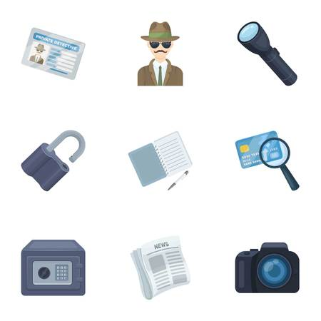 investigating: Camera, magnifier, hat, notebook with pen.Detective set collection icons in cartoon style vector symbol stock illustration web.