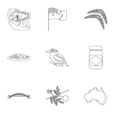 National symbols of australia. Web icon on Australia theme.Australia icon in set collection on outline style vector symbol stock illustration.