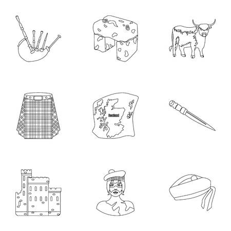 National symbols of Scotland. Scottish attractions. Scotland country icon in set collection on outline style vector symbol stock illustration.