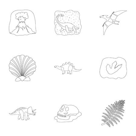 Ancient extinct animals and their tracks and remains. Dinosaurs, tyrannosaurs, pnictosaurs.Dinisaurs and prehistorical icon in set collection on outline style vector symbol stock illustration. Illustration