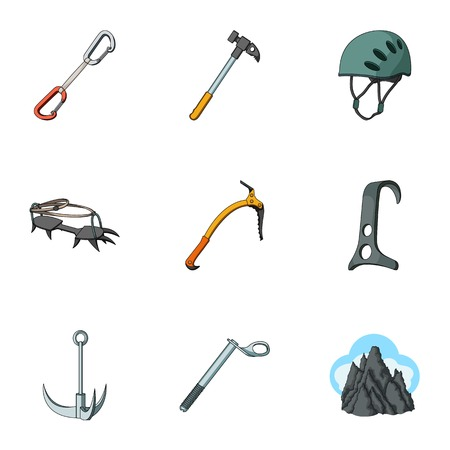 Ice ax, conquered top, mountains in the clouds and other equipment for mountaineering.Mountaineering set collection icons in cartoon style vector symbol stock illustration web. Reklamní fotografie - 80683242