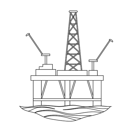 Oil rig on the water.Oil single icon in outline style vector symbol stock illustration web.