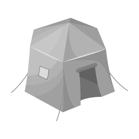 Tourist tent.Tent single icon in monochrome style vector symbol stock illustration web.