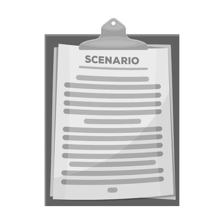 Scenario. Film enig pictogram in zwart-wit stijl vector symbool stock illustratie web.