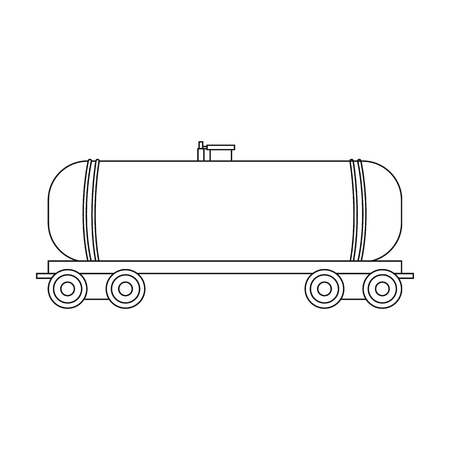 Railway Tank Caroil Single Icon In Outline Style Vector Symbol