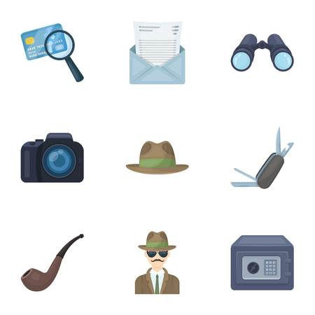 shadowing: Camera, magnifier, hat, notebook with pen.Detective set collection icons in cartoon style vector symbol stock illustration web.