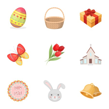 holy book: Easter cake, chicken, butterfly and greeting sign.Easter set collection icons in cartoon style vector symbol stock illustration web. Illustration