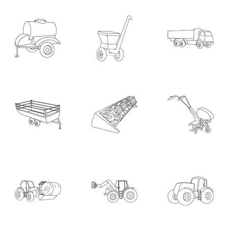 bales: Set of pictures about agricultural machinery. Cars to robots to the ground.Agricultural Machinery icon in set collection on outline style vector symbol stock illustration.