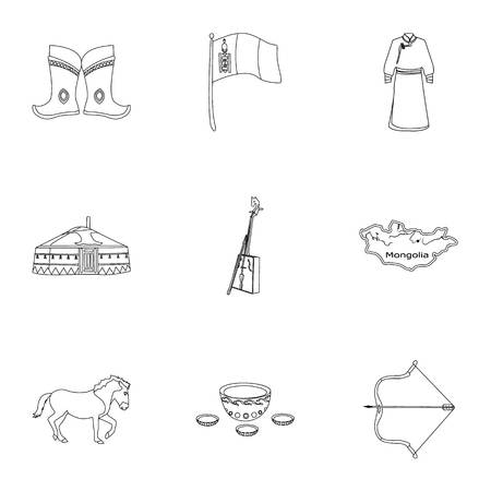 mongolia horse: Mongolian national characteristics. Icons set about Mongolia.Clothing, soldiers, equipment. Mongolia icon in set collection on outline style vector symbol stock illustration.