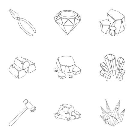 宝石、結晶鉱物、高価な金属のセット。宝石商は、装飾品を検査します。貴重な鉱物と宝石商アウトライン スタイルのベクトルのセットのコレクシ