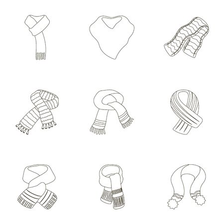 .Beautiful woolen, silk-colored warm scarves of shawls. scarves and shawles icon in set collection on outline style vector symbol stock illustration.
