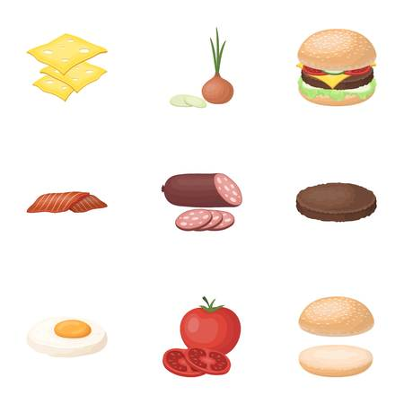 A set of pictures about burgers and ingredients for a sandwich. Burgers ang ingredients icon in set collection on cartoon style vector symbol stock illustration.