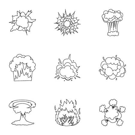 rupture: A set of icons about the explosion. Various explosions, a cloud of smoke and fire.Explosions icon in set collection on outline style vector symbol stock illustration. Illustration