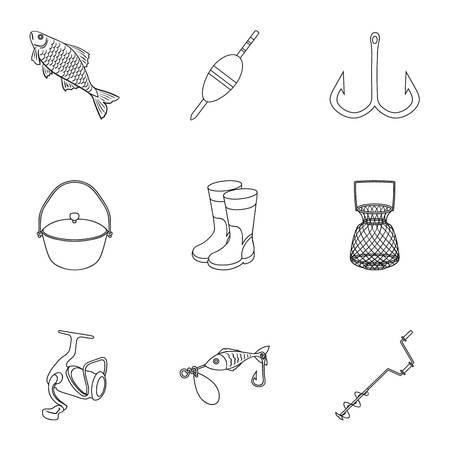 Summer and winter fishing, outdoor recreation, fishing, fish.Fishing icon in set collection on outline style vector symbol stock illustration.