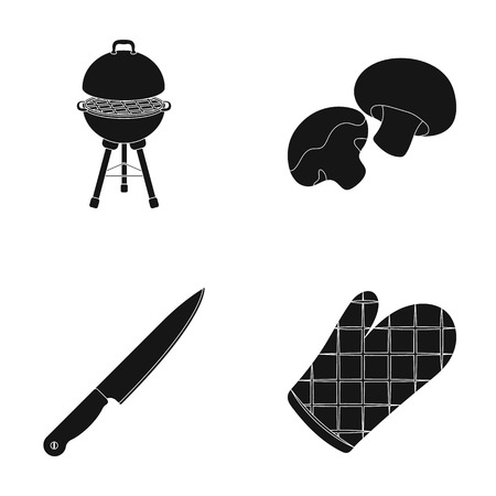 Barbeque grill, champignons, knife, barbecue mitten.BBQ set collection icons in black style vector symbol stock illustration,web Illustration