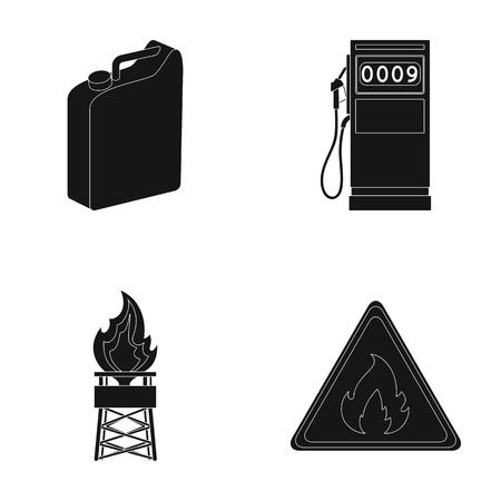 Canister for gasoline, gas station, tower, warning sign. Oil set collection icons in black style vector symbol stock illustration web.