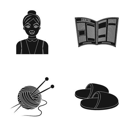 An elderly woman, slippers, a newspaper, knitting.Old age set collection icons in black style vector symbol stock illustration web.