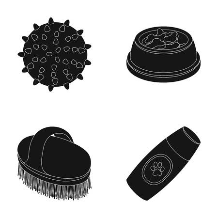 zoo dry: The ball, feed, shampoo and other zoo store products. Pet shop set collection icons in black style vector symbol stock illustration web.