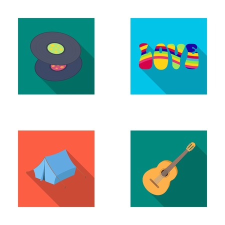 discs: Vinyl discs, guitar, tent.Hippy set collection icons in flat style vector symbol stock illustration web. Illustration